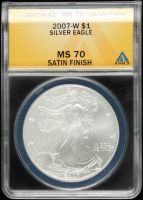 2007-W American Silver Eagle $1 One Dollar Coin - Burnished - Satin Finish (ANACS MS70) at PristineAuction.com