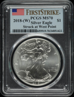 2018-W American Silver Eagle $1 One Dollar Coin - First Strike, Struck at West Point (PCGS MS70) at PristineAuction.com