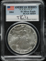 2004 American Silver Eagle $1 One Dollar Coin, American Heroes Series - General Tommy Franks Signed Label (PCGS MS69) at PristineAuction.com