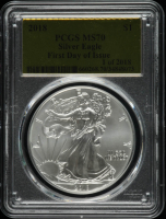 2018 American Silver Eagle $1 One Dollar Coin - First Day of Issue - Gold Foil Label (PCGS MS70) at PristineAuction.com