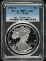 1990-S American Silver Eagle $1 One Dollar Coin (PCGS PR69 DCAM) at PristineAuction.com