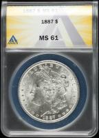1887 Morgan Silver Dollar (ANACS MS61) at PristineAuction.com