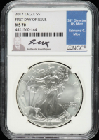 2017 American Silver Eagle $1 One Dollar Coin, First Day of Issue - Edmund C. Moy Signed Label (NGC MS70) at PristineAuction.com