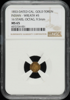 1853-Dated California Gold Token Indian Head - Wreath, Octagon (NGC MS66) at PristineAuction.com