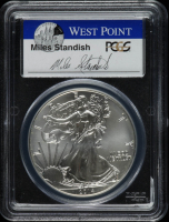2014-W American Silver Eagle $1 One Dollar Coin, First Strike, Struck at West Point - Miles Standish Signed Label (PCGS MS70) at PristineAuction.com