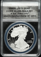 Set of (2) 2019-W & 2019 American Silver Eagle $1 One Dollar Coin, First Strike - Black Eagle Labels (ANACS PR70 DCAM & MS70) at PristineAuction.com