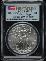 2015-W American Silver Eagle $1 One Dollar Coin, First Strike (PCGS MS70) at PristineAuction.com