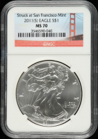 2011-S American Silver Eagle $1 One Dollar Coin, Struck at San Francisco (NGC MS70) at PristineAuction.com