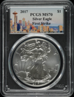 2017 American Silver Eagle $1 One Dollar Coin, First Strike - Seattle Label (PCGS MS70) at PristineAuction.com