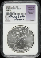 2017 American Silver Eagle $1 One Dollar Coin, First Day of Issue - Elizabeth Jones Signed Label (NGC MS70) at PristineAuction.com