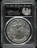 2017 American Silver Eagle $1 One Dollar Coin, Thomas S. Cleveland Signed Label (PCGS MS70) at PristineAuction.com