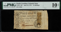 1778 South Carolina 15s. Fifteen-Shillings Colonial Currency Note (PMG Very Good 10 Net) at PristineAuction.com