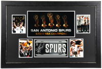 Spurs 25.5x27.5 Custom Framed License Plate Display Signed by (4) with Tony Parker, Tim Duncan, Gregg Popovich & Manu Ginobili (JSA ALOA) at PristineAuction.com