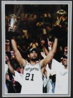 Spurs 25.5x27.5 Custom Framed License Plate Display Signed by (4) with Tony Parker, Tim Duncan, Gregg Popovich & Manu Ginobili (JSA ALOA) at PristineAuction.com