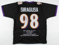 Tony Siragusa Signed Career Highlight Stat Jersey (JSA COA) at PristineAuction.com