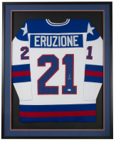 Mike Eruzione Signed 34.5x42.5 Custom Framed Jersey (JSA COA) at PristineAuction.com