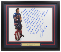 Jim Craig Signed 1980 Team USA 16x20 Custom Framed Photo Display with Handwritten Story Inscription (Steiner COA) at PristineAuction.com