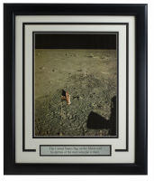 """""""United States Flag on The Moon"""" 11x14 Custom Framed Photo at PristineAuction.com"""