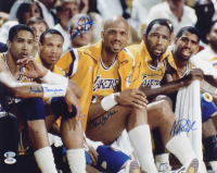 "Lakers ""Showtime"" 16x20 Photo Team-Signed by (5) with Magic Johnson, Kareem Abdul-Jabbar, James Worthy, Mychal Thompson & Bryon Scott (Beckett COA) at PristineAuction.com"
