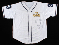 Baseball Jersey Cast-Signed by (6) with Tom Guiry, Chauncey Leopardi, Marty York, Shane Obedzinski, Victor DiMattia, Brandon Adams With (6) Character Inscriptions (Beckett COA) at PristineAuction.com