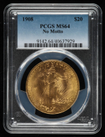 1908 $20 Twenty-Dollar Saint-Gaudens Double Eagle Gold Coin (No Motto) (PCGS MS64) at PristineAuction.com