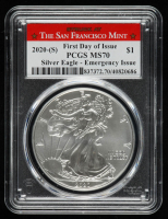 2020-S American Silver Eagle $1 One Dollar Coin - First Day Of Issue - Emergency Issue (PCGS MS70) at PristineAuction.com