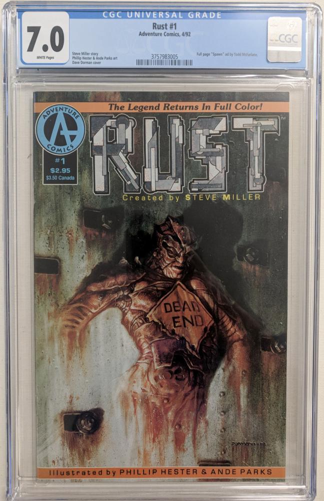 """1992 """"Rust"""" Issue #1 Adventure Comic Book (CGC 7.0) at PristineAuction.com"""