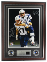 Tom Brady & Rob Gronkowski Signed Patriots 16x20 Custom Framed Photo Display with (2) Pins (Stiener COA & Tristar Hologram) at PristineAuction.com