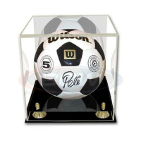 Deluxe Acrylic Full Size Soccer Ball Mirrored Display Case with Black Base at PristineAuction.com