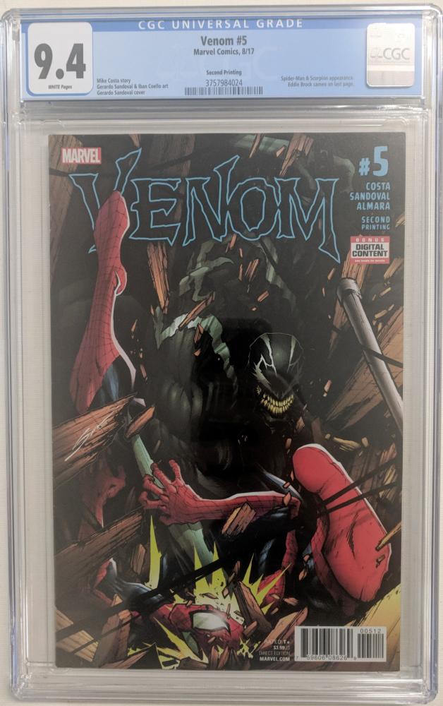 """2017 """"Venom"""" Issue #5 Marvel Comic Book (CGC 9.4) at PristineAuction.com"""