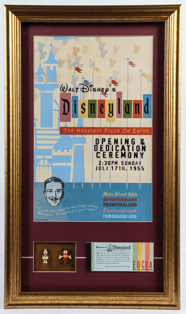 """Disneyland """"The Happiest Place On Earth 16x27 Custom Framed Print Display with Vintage Ticket Book & Set of (2) 1960 Original Mickey & Minnie Mouse Figurines at PristineAuction.com"""