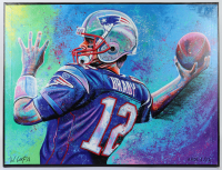 Tom Brady 30.5x40 Bill Lopa Hand-Embelished Giclee on Canvas (PA LOA) at PristineAuction.com