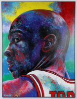 Michael Jordan 31x40.5 Bill Lopa Hand-Embelished Giclee on Canvas (PA LOA) at PristineAuction.com