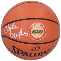 Clyde Drexler Signed Rockets Logo Basketball (Fanatics Hologram) at PristineAuction.com