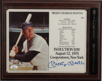 Mickey Mantle Signed Induction Day 10.5x13 Custom Plaque Photo Display (JSA LOA) (See Description) at PristineAuction.com