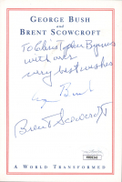 "George H.W. Bush & Brent Scowcroft Signed 4x5.5 Cut Inscribed ""With Our Very Best Wishes"" (JSA COA) (See Description) at PristineAuction.com"