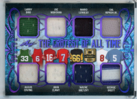 2019 ITG Used Sports The Gr8est of All Time Memorabilia Purple Spectrum #TGT05 Larry Bird / Julius Erving / Joe Montana / John Elway / Mario Lemieux / Wayne Gretzky / Cal Ripken Jr. / George Brett at PristineAuction.com