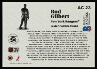Rod Gilbert Signed 1991-92 Pro Set NHL Sponsor Awards #AC23 / Lester Patrick Award (Beckett COA) at PristineAuction.com