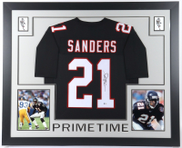 Deion Sanders Signed 35x43 Custom Framed Jersey (Beckett COA) at PristineAuction.com