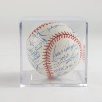 1997 Cubs ONL Baseball Team-Signed by (26) with Ryne Sandberg, Mark Grace, Sammy Sosa, Miguel Batista, Dave Hansen, Ramon Tatis with Display Case (JSA LOA) at PristineAuction.com