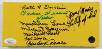 """""""The Wizard of Oz"""" 4x8 Yellow Brick Movie Prop Cast-Signed by (7) with Mickey Carroll, Ruth Duccini, Karl Slover Inscribed """"Munchkin Love"""" & """"Soldier"""" (JSA COA) (See Description) at PristineAuction.com"""