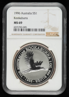 1996 Kookaburra 1 oz Australia Silver $10 Ten-Dollar Coin (NGC MS 69) at PristineAuction.com