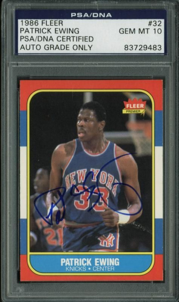 Patrick Ewing Signed 1986-87 Fleer #32 (PSA Encapsulated) at PristineAuction.com