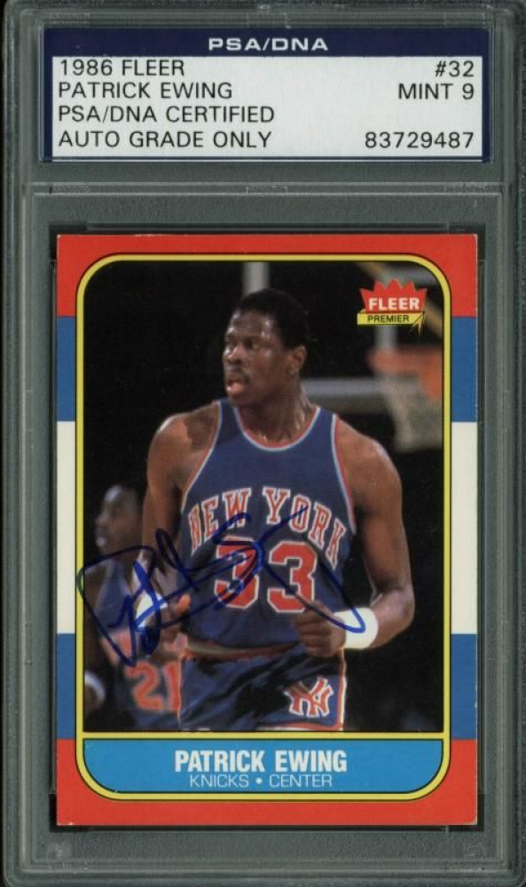 Patrick Ewing Signed 1986-87 Fleer #32 (PSA Encapsulated) at PristineAuction.com