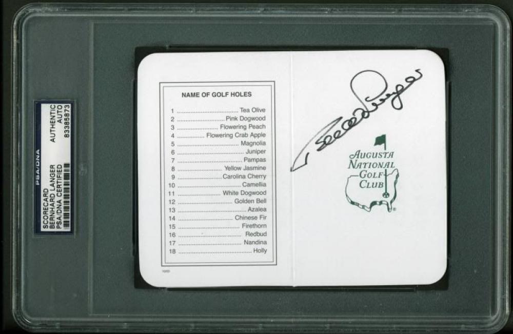 Bernhard Langer Signed 5x6 Masters Augusta National Golf Club Scorecard (PSA Encapsulated) at PristineAuction.com