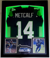 DK Metcalf Signed 32x41 Custom Framed Jersey Display with LED Lights (JSA Hologram) at PristineAuction.com