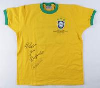 Team Brazil Jersey Signed By (4) With Pele, Gerson, Jairzinho & Carlos Alberto Torres (JSA ALOA) at PristineAuction.com