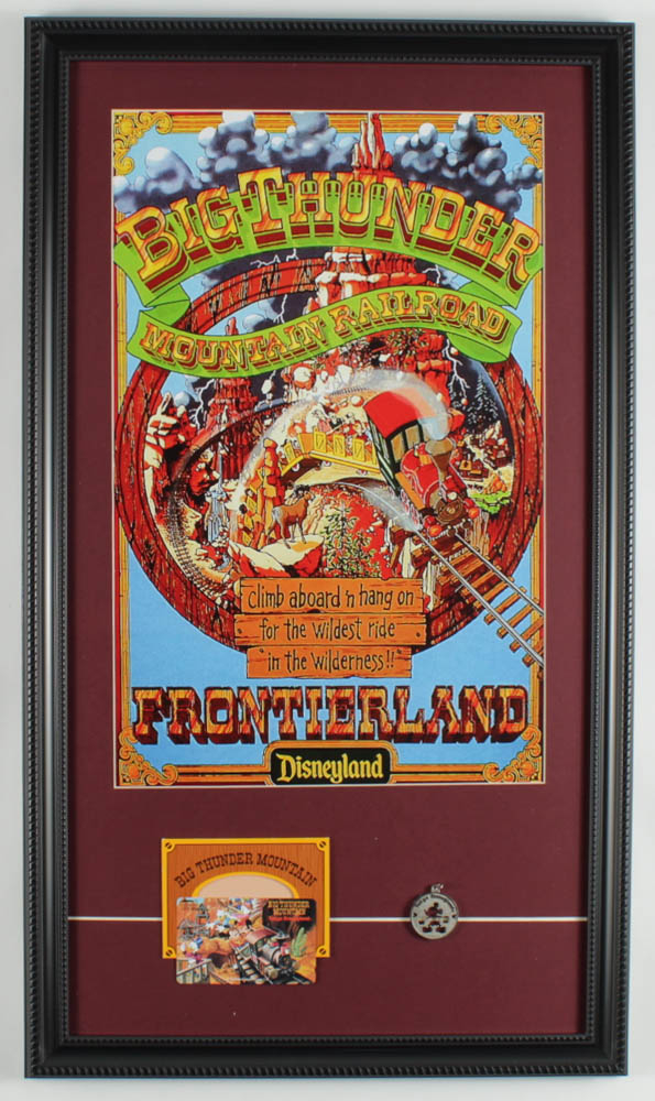 "Walt Disney's ""Big Thunder Mountain Railroad"" 15x26 Custom Framed Print Display with Tokyo Disneyland Phone Card & Souvenir Pendant at PristineAuction.com"