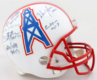 Oilers HOF Full Size Helmet Signed by (6) with Bruce Mathews, Mike Munchak, Elvin Bethea, Curly Culp, Warren Moon, & Earl Campbell with HOF Inscriptions (JSA COA) at PristineAuction.com