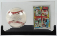 Pete Rose Signed ONL Baseball with Trading Card & Display Case (Beckett COA) at PristineAuction.com